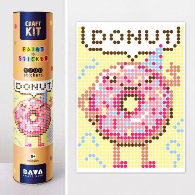 Картина по номерам с наклейками Пончик