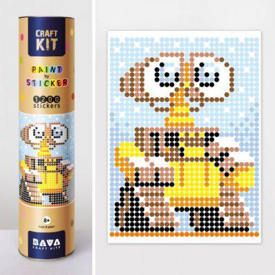 Картина по номерам с наклейками Робот желтый