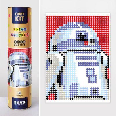 Картина по номерам с наклейками Робот синий