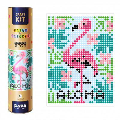 Картина по номерам с наклейками Фламинго