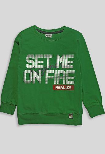 Джемпер Set me on fire Зеленый