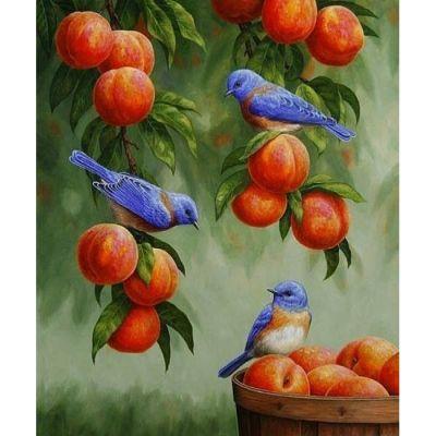 Роспись по номерам Дрозды и персики