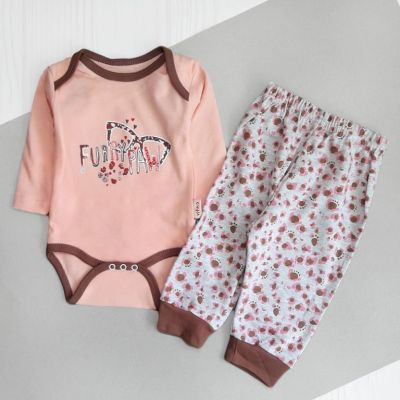 Комплект боди и штаны Очки Розовый