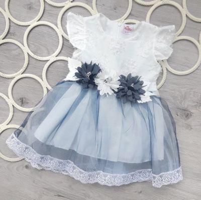 Платье Цветы, фатиновая юбка Синий