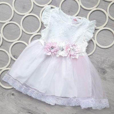 Платье Цветы, фатиновая юбка Розовый