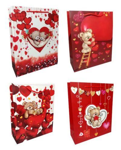 Пакет картон Мишки с сердцами