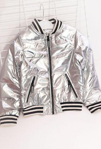 Куртка бомбер для девочки Серебро