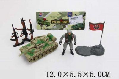 Военный набор солдат, танк, оружие, в п/э 12*5,5*5см /288-2/