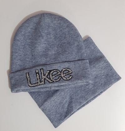 Комплект вязаный шапка и баф Likee камни Микс