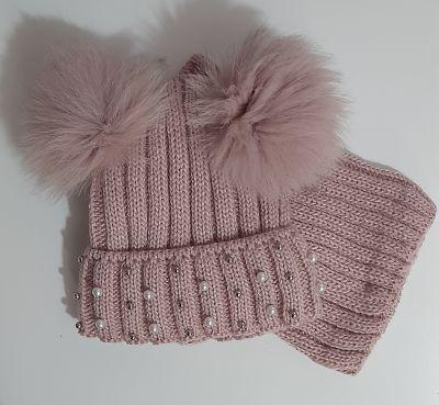 Комплект вязаный шапка и баф Два помпона, бусины Микс