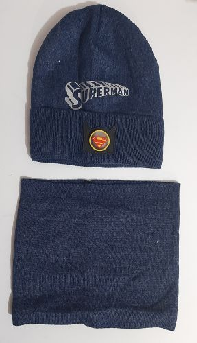 Комплект вязаный шапка и баф Supermen Микс