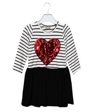 Платье Красное сердце, полоса Белый