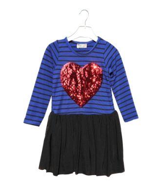 Платье Красное сердце, полоса Электрик