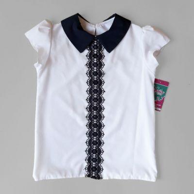 Блуза короткий рукав Планка кружево Белый