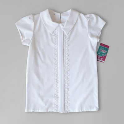 Блуза короткий рукав Планка, кружево Белый
