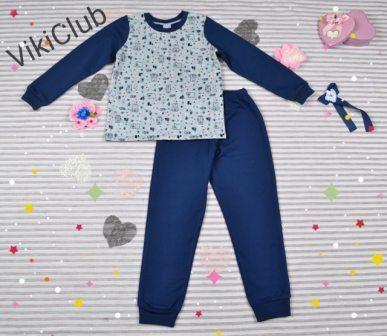 Пижама трикотажная с начесом Мишки Синий
