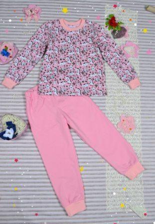 Пижама трикотажная с начесом Единорог Розовый