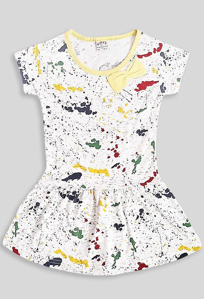 Платье Абстракция бант Молочный