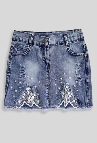 Юбка джинсовая Вставка мереживо Деним светлый