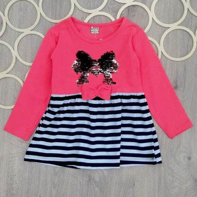 Платье Бант паетки Розовый
