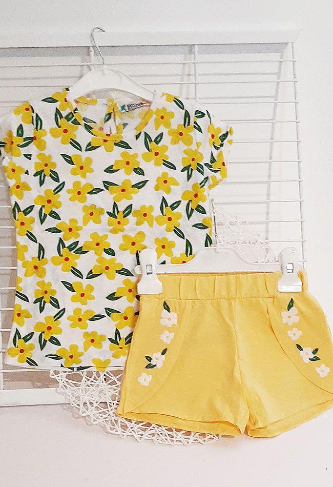 Костюм двойка Цветы Желтый