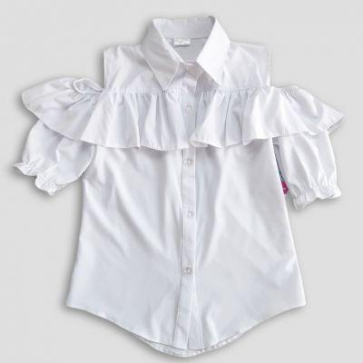 Блуза с коротким рукавом Широкий волан Белый