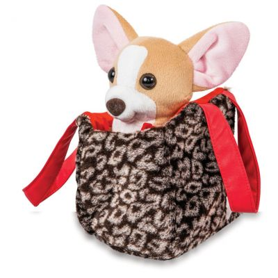 Собачка чихуахуа коричневый с сумочкой в платье
