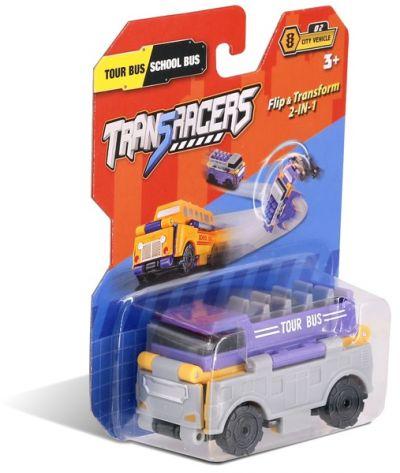 TransRacers машинка 2 в 1 Туристический & Школьный автобус