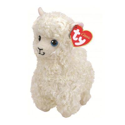 TY игрушка мягконабивная Белая лама Lily 25см