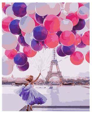 Набор для росписи по номерам Девушка с шариками в Париже