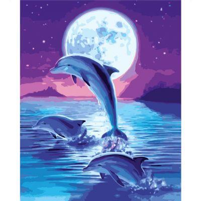 Набор для росписи по номерам Дельфины в лунном свете