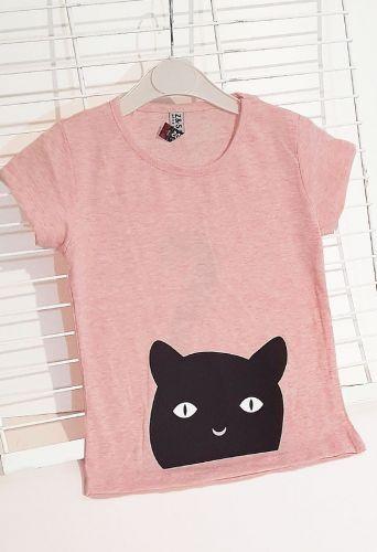 Футболка Черная кошка Светло-розовый