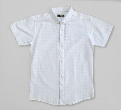 Сорочка короткий рукав Клетка, вышивка Белый