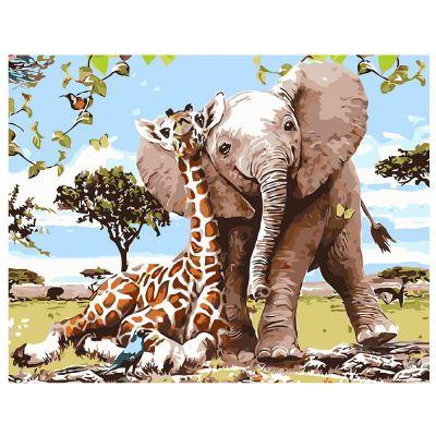 Набор для росписи по номерам Слоненок и жираф
