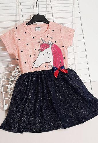 Платье Единорог фатиновая юбка Пудра