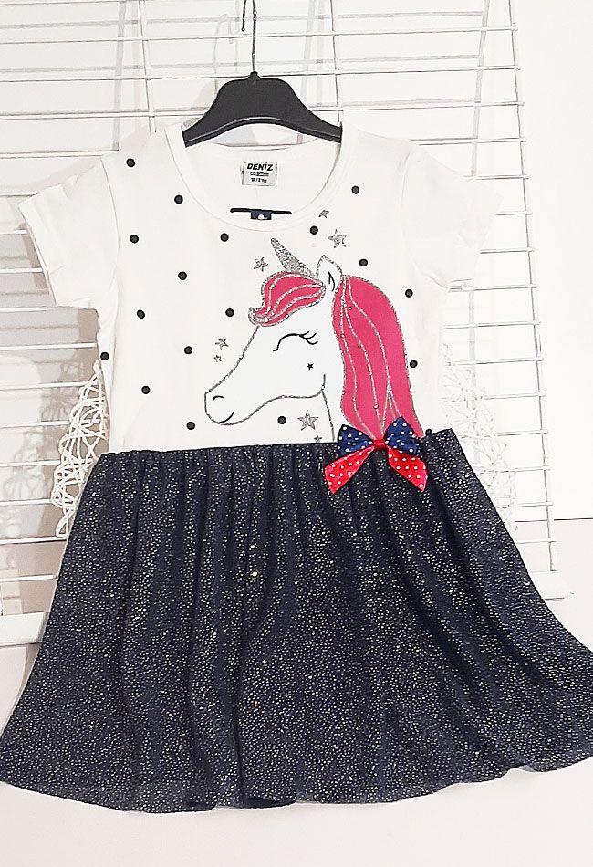 Платье Единорог фатиновая юбка Молочный