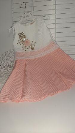 Платье нарядное сеточка цветы Пудра