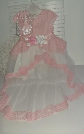 Платье нарядное Шлейф два цветка Розовый