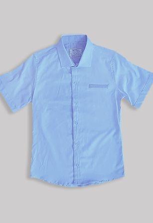 Сорочка короткий рукав вставка Голубой
