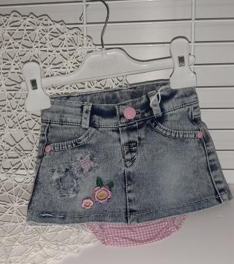 Юбка джинсовая  + трусики под памперс Деним светлый