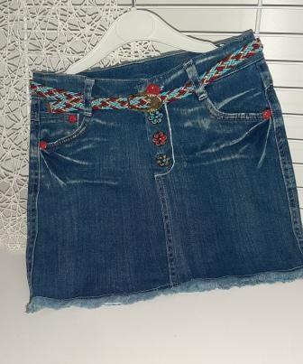 Юбка джинсовая  Цветочки из бусин Деним светлый