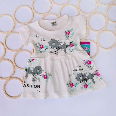 Платье Котики, бантик Молочный