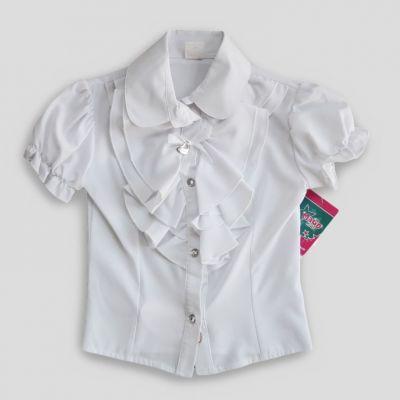 Блуза с коротким рукавом Ева, жабо Белый