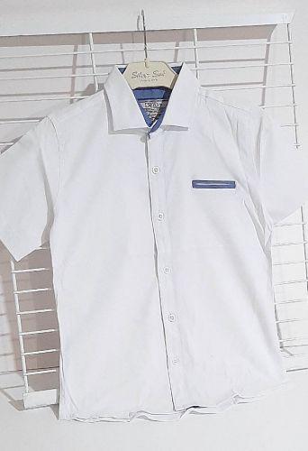 """Сорочка короткий рукав """"Меланжевая вставка"""" белый Белый"""