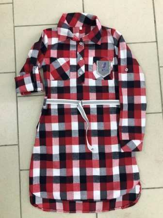 Туника рубашка Клетка Красный